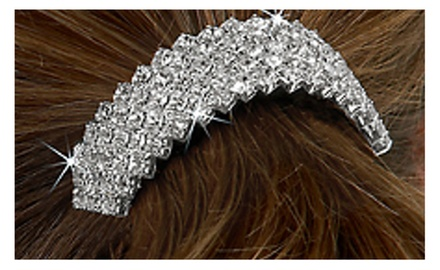 Daimond Pattern Rhinestone Crystal Pony Tail Holder in Clip on Style