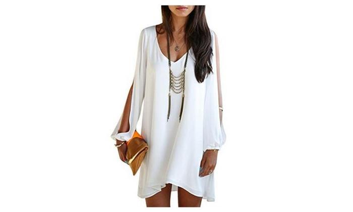 Womens V-neck Loose Irregular Hem Summer Chiffon Short Beach Dress