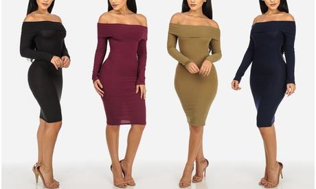 Off Shoulder Long Sleeve Rib Knit Bodycon Sweater Midi Dresses 41cbe0b5-f3e8-40ee-9b6e-a2fec9bc72ef