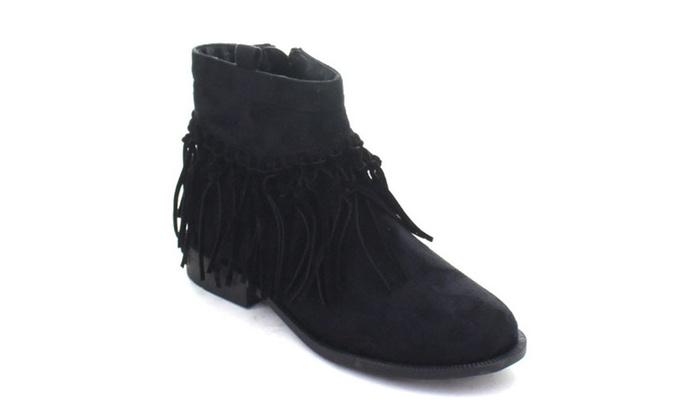 Hana-1 Women Fringe Strappy Zipper Chunky Heel Bohemian Ankle Booties