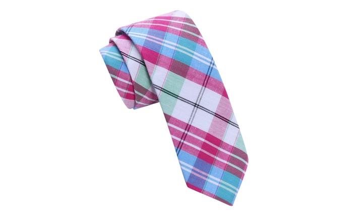 Skinny Tie Madness Men's Tittilate Pink Plaid Skinny tie