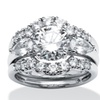 3.45 TCW CZ Ring Set Platinum over Sterling Silver