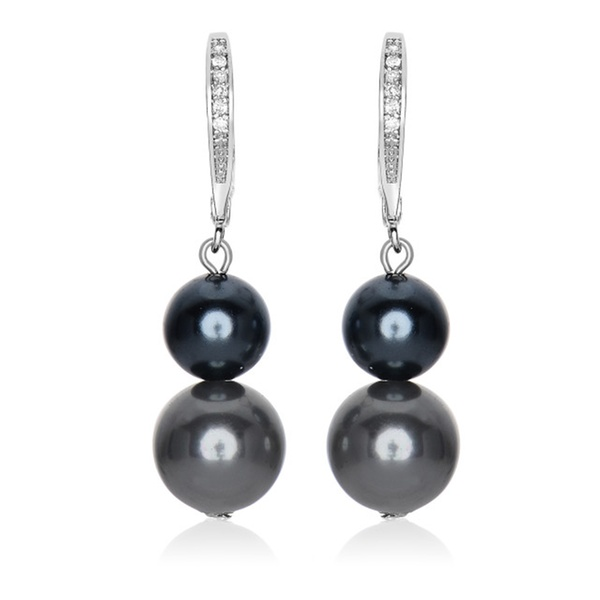 Cubic Sterling Silver Rhodium Plated Double Black Pearl Drop Earrings Groupon