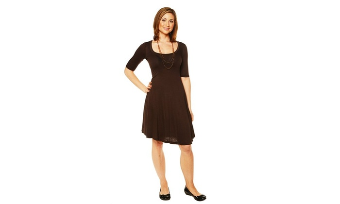 24/7 Comfort Apparel Women's 3/4-sleeve Dress