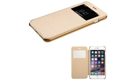 Insten Book-Style Leather Fabric Case For Apple iPhone 6 Plus - Gold