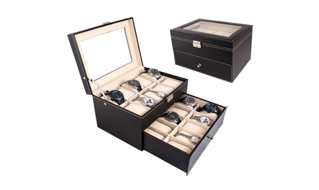 6/10/20 Compartments Dual Layers Wooden Watch Collection Box