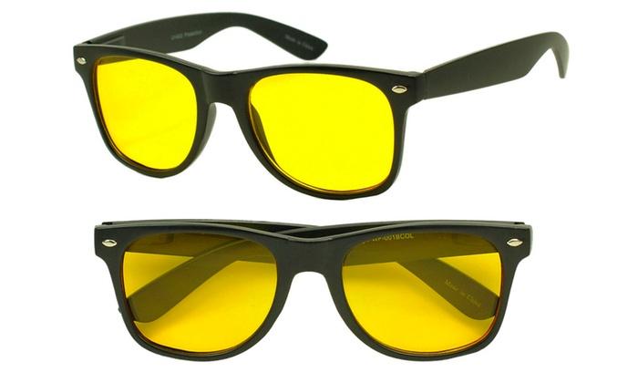 Retro Round Classic Yellow Night Driving Sunglasses for Men and Women