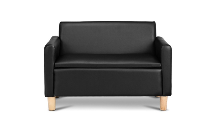Kids Double Seat Sofa Armrest Chair Lounge Couch Wood Construction Storage Box