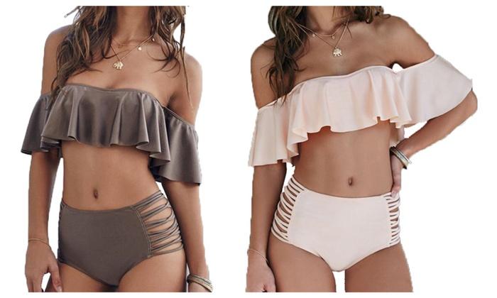 Oshlen Fresh Summer Sewing Falbala Halter Bikini Set