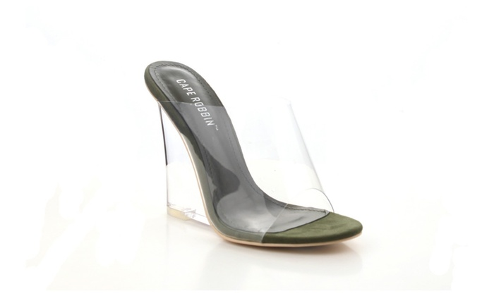 96ec084ad0 Women's Transparent Open Toe Mule Wedge Heeled Sandals Lemonade ...