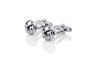 Zodaca Silver Men's Cufflinks Knot Twist Cuff Links Mens Cufflinks