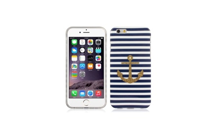 Navy Striped Gold Anchor Apple iPhone 6 Case