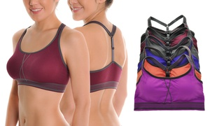 Seamless Striped-Band Sports Bra with Y-Strap Back (6-Pack)