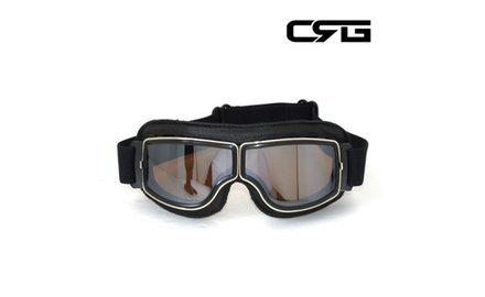 CRG Vintage Bike Aviator Style Motorcycle Cruiser Scooter Goggles T13BSB Deluxe