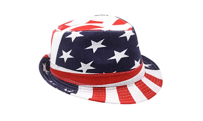 Red White Blue Stars & Stripes Patriotic Unisex Fedora Hat