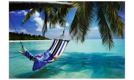 Tropical Beach Hammock Under Tree Huge Art Poster Print