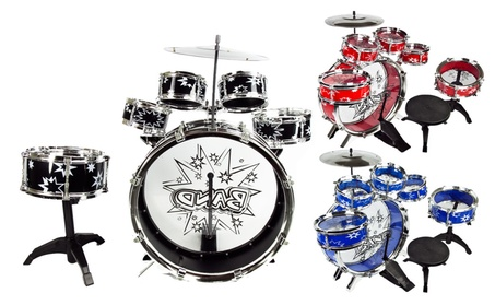 11 PC Kids Toddler Toy Drum Set with Stool 7f4442b1-1a9e-44a9-840e-8bb0da38c883