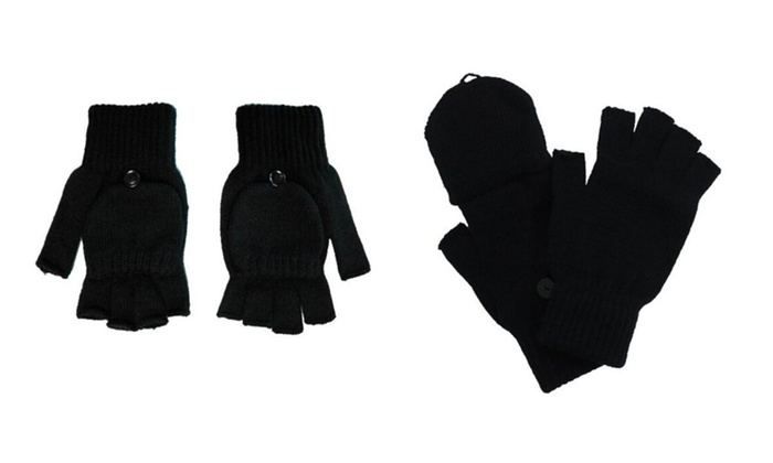 Black Knit Flip Gloves