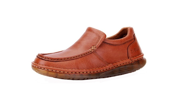 Men Retro Loafers Flats Cowhide Leather Moccasin Business Shoe