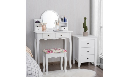 Makeup Vanity Table Set W/Drawers Oval Mirror Girls Dressing Table for Kids Gift
