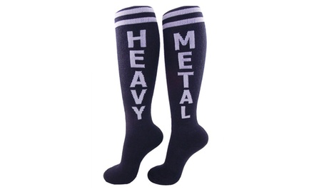 Unisex Heavy Metal Knee High Athletic Socks for Adults Black