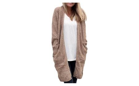 Women Pocket Loose Medium Length Knit Sweater Knit Cardigan 3b6c5c27-6f05-4f32-8841-e4868242f388