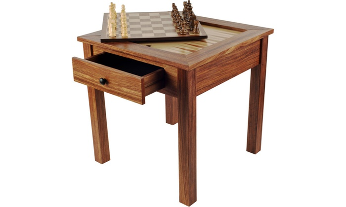 Wood 3 in 1 chess backgammon table by trademark games for 12 in 1 game table groupon
