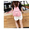 Girl's Solid PU Leather Backpack Drawstring Rucksack