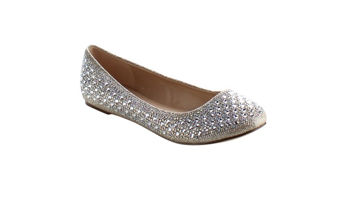 8956d23e4b02 Fabulicious Treat-06 Round Toe Ballet Flat Embellished With Rhinstones ...
