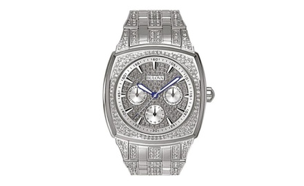 Men's Bulova Crystal Accented Quartz Watch Chronograph with Stainless Steel Bracelet