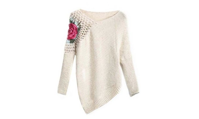 Women's Apricot Round Neck Floral Crochet Loose Sweater
