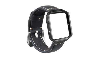 Shop Groupon Vintage Leather Band With Steel Frame For Fitbit Blaze Smart Watch