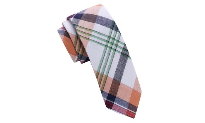 Skinny Tie Madness Men's dipthong Multi Plaid Skinny tie