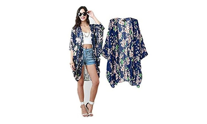 Women's Floral Chiffon Loose Kimono Cardigan Capes Cover UP