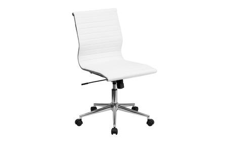 Low Back Designer Armless White Ribbed Swivel Task Chair d1d80397-bcf8-4d4b-9705-bd9f048234ae