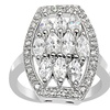Orchid Jewelry Cubic Zirconia 0.925 Sterling Silver Designer Ring