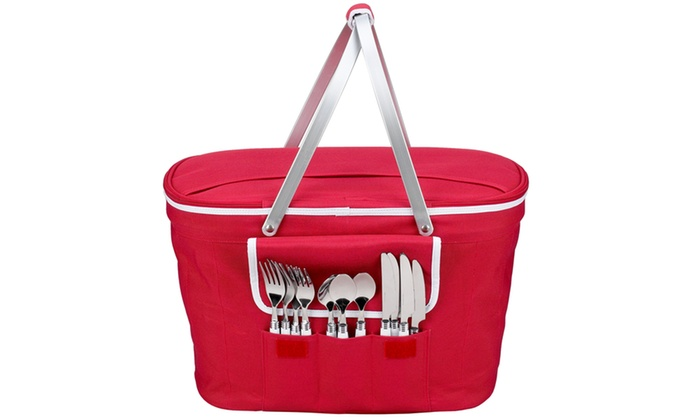 Collapsible Insulated Picnic Basket For 4 : Collapsible insulated picnic basket for groupon