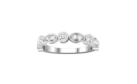 0.50 ct Ladies Round Cut Diamond Wedding Band Ring Marques Look Setting