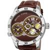 Joshua And Sons Men's Quartz Dual-Time Leather Strap Watch JSGP97