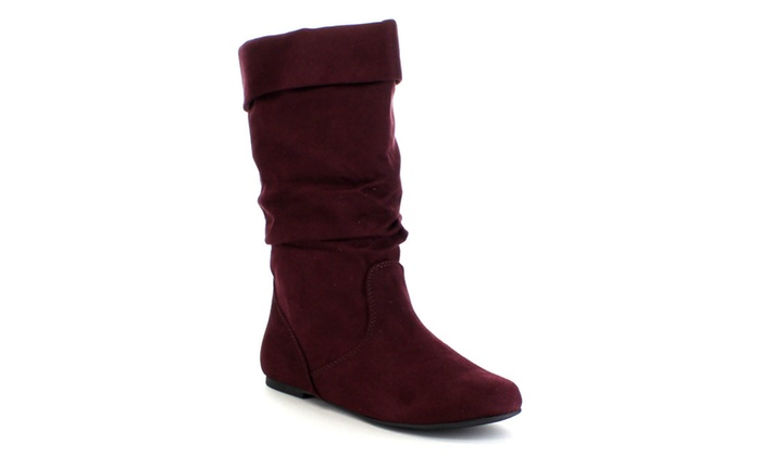 Soda Image Women's Comfortable Flat Mid Calf Boot shoes