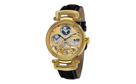 Stuhrling Original Men's 353A.333531 Magistrate Automatic Skeleton Dual Time Gold Tone Watch