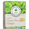 Organic Fair Trade Certified Green Tea with Ginger, (Pack of 6)