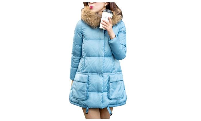 DPN Women's Winter Casual Faux Fur Hooded Outdoor Light Down Coat