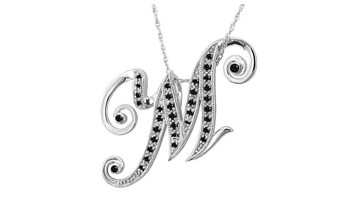 14k white gold alphabet letter m black diamond pendant 021 ct 14k white gold alphabet letter m black diamond pendant 021 ct thecheapjerseys Gallery