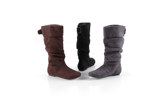 Journee Collection Womens Wide-Calf Slouch Mid-Calf Microsuede Boots