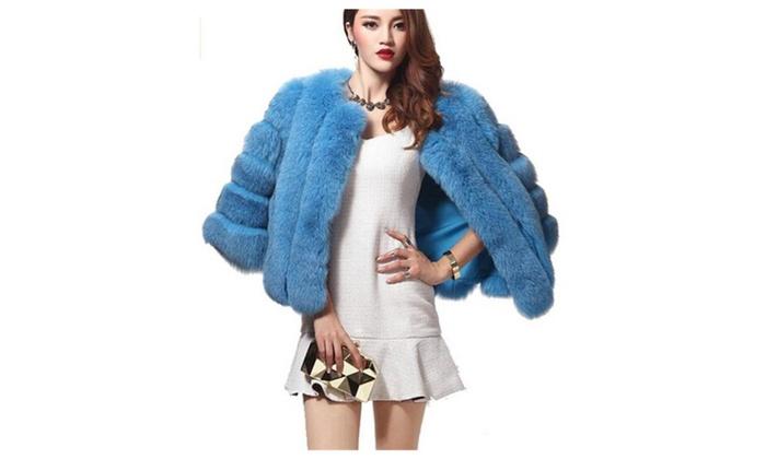 Womens Luxury Winter Fox Faux Fur Jacket Coat Parkas Outwear