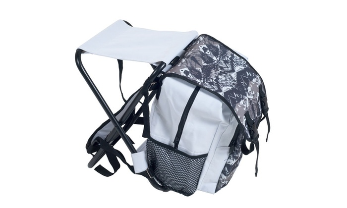 Folding Stool and Backpack Combo - White and Black