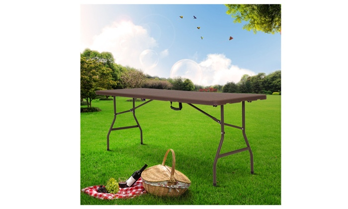 6 Folding Table Rattan Design Portable Indoor Outdoor