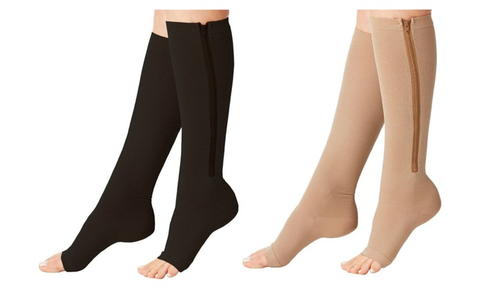 5c44e118cd7488 Zipper Compression 10-15 mmHg Circulation Sock Swelling Leg Fatigue ...