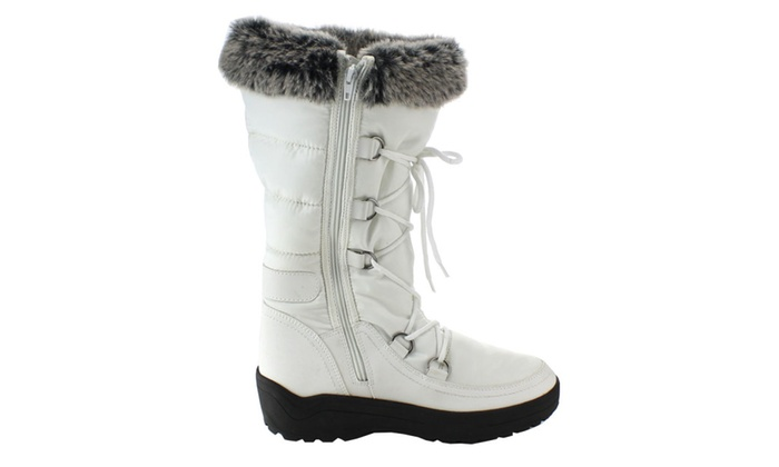 FROST-01 Women's Stitching Lace Up Mid-Calf Snow Boots